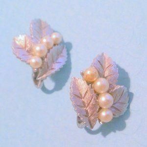 Vintage Crown Trifari Faux Pearl Leaf Earrings